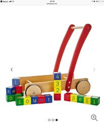 JOHN LEWIS WOODEN BABY WALKER WITH BRICKS ~ new in box ~ RRP £45 still selling online