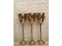 Brass standing champagne bucket wine cooler