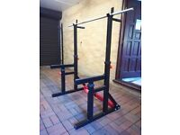 Bodymax Squat and Dip Rack with Spotter Catchers, Bar and weights.
