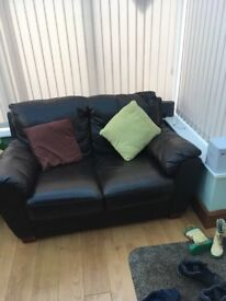For sale Brown leather 2 seater