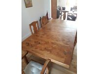 Mexican recycled pine dining table and 6 chairs