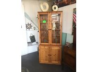 FURNITURE. DRESSER \ DISPLAY CABINET \ BOOKCASE. QUALITY PINE. 2 PARTS FOR EASY TRANSPORTATION. WOW