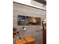Retro Teak Mid Century Over Mantle Mirror
