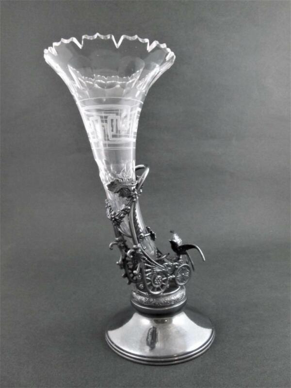 Antique CORNUCOPIA VASE epergne RACINE Quadruple Silver - Figural BIRD Greek Key