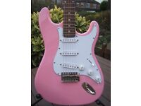 Tanglewood Rebel, Fender Stratocaster Copy Electric Guitar - Mint Cond. Pink with Gig Bag