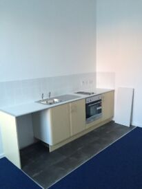 one bed flat in Widnes, WA8 0PT, elec heating, full DG, unfurn, fit kit with oven, off rd pking
