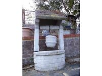 Vintage Reconstituted Stone Wishing Well Planter