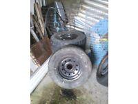 Pajero/shogun steel wheels and tyres.