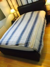 Box double bed ( 4 feet wide with storage), mattress and bed side cabinets with lamps