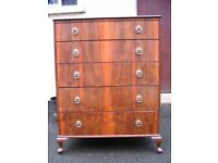 Vintage 1960's Beithcraft Furniture solid wood chest of 5 drawers tallboy mid-century retro home.