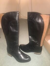 Rider knee boots black with tan size 40