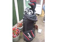 FULL SET OF LEFTHANDED GOLF CLUBS WITH FREE STANDING BAG