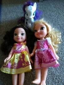 2 Disney Princess dolls and My Little Pony light up unicorn