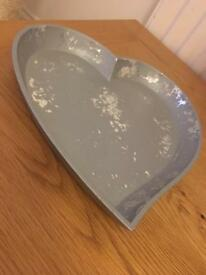 Silver distressed heart shaped dish tray wedding