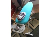 ironing board, and Iron