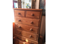 Antique Pine Chest of Drawers - free local delivery.. Chest size L 26 in D 14 in H 30 in