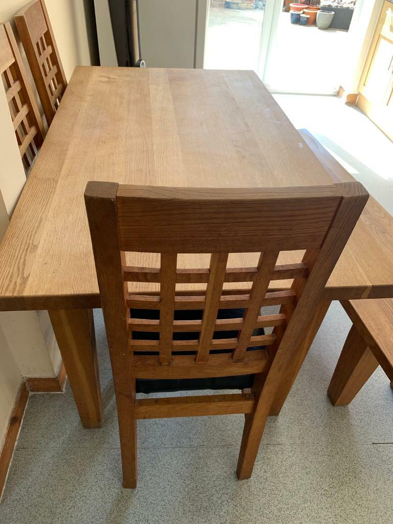 Family Dining Table Bench Chairs Solid Oak