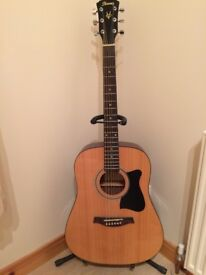 Ibanez Acoustic Guitar, stand, bag, and various accessories - as new from smoke free home