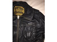 Medium Black Leather Superdry Jacket