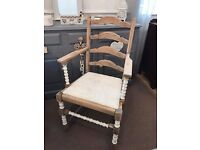 Solid oak vintage chair Shabby chic style