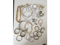 Job Lot Bulk Jewellery Necklaces Bracelets Rings Earrings H&M Vintage Asos Gold & Silver Colour