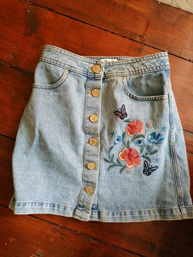 Miss Denim Skirt Selfridge Embroidered Floral QrCoeWxBEd