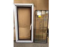 UPVC Window - Rosewood - 595mm x 1300mm inc Cill - brass handle - leaded glass