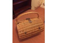 Picnic basket set - light brown wicker with plates, mugs & cutlery