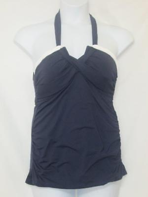 NWT Anne Cole Signature Twist Front Halter Tankini Top Blue Size 16W - Twist Front Halter Tankini