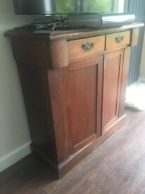 Elegant Solid Satin Wood Antique Cabinet/ television stand- 2 drawers + 2 doors-