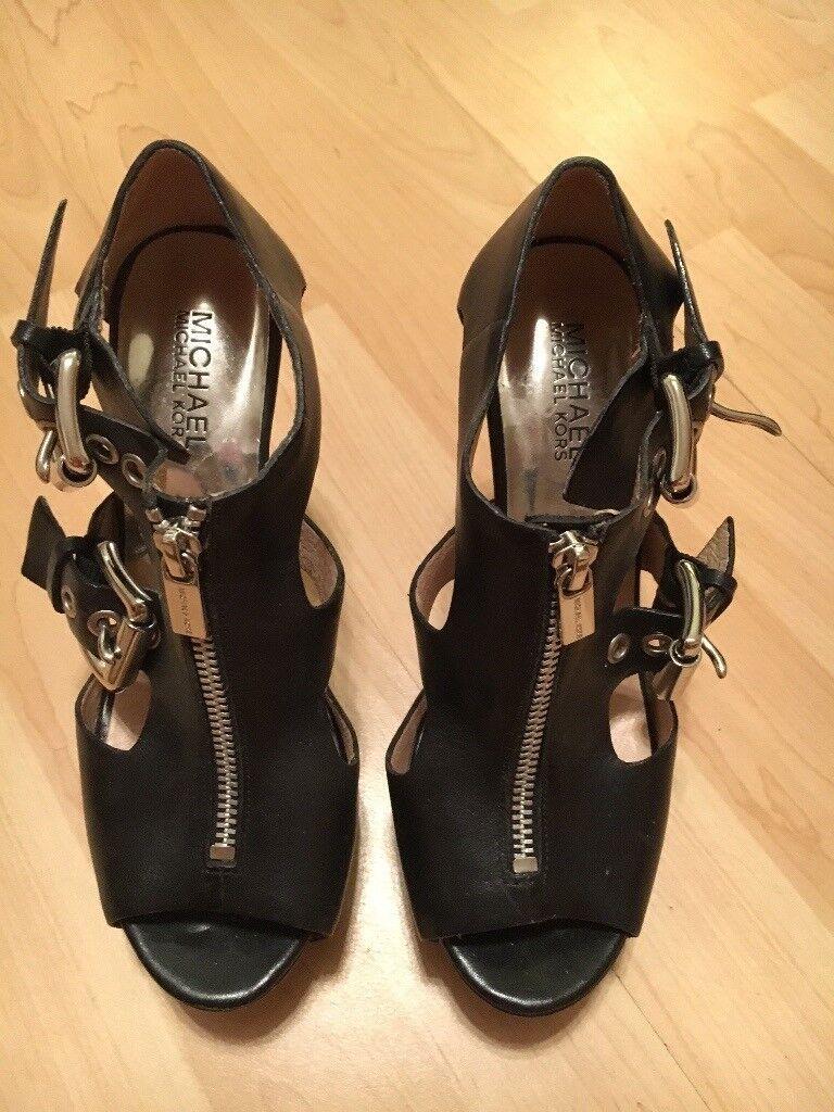 MICHAEL KORS - Black Peep-Toe Leather Buckle & Zip Fronted Platform Ladies Stiletto Shoes (Size 5)