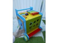 WOODEN large BABY WALKER & ACTIVITY centre,MOTHERCARE,blackboard,xylophone,clock