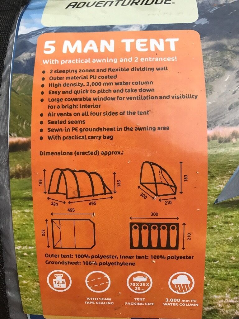 Adventuridge 5 Man Tent New In Westbury On Trym