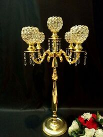 Brand new Gold/silver candelabra 90cm high/70cm gold/silver flower vase perfect centre pieces