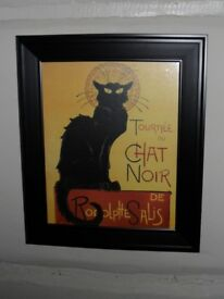 Framed print of French vintage cat poster