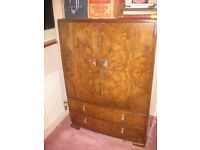 Matching Art Deco bedroom suite of dressing table, wardrobe and cabinet of drawers and shelves