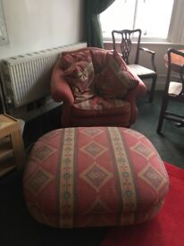 Armchair and pouffe