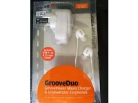 Cygnett Groove Duo Mains charger/Earphone and Iphone charger cable-New