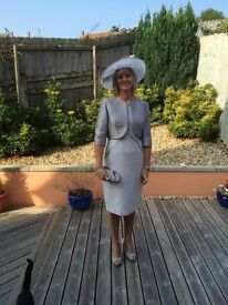 John Charles designer Mother of Bride Silver/Grey tailored dress with bolero jacket and hat