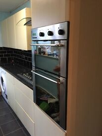 Maple contemporary kitchen unit doors hob extractor fan double oven