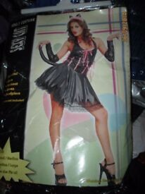 SHORT SILKY BLACK CAT FANCY DRESS OUTFIT SIZE 10/12 GREAT FOR PARTY OR HEN DO