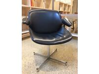 Retro vintage black vinyl arm chairs