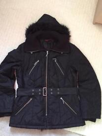 John Richmond black quilted coat size 14