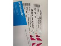 2 x Athletic World Cup Tickets - Sunday 15th July below face value