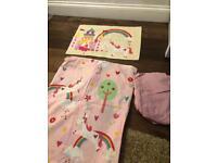Girls reversible toddler bedding with sheet fairy princess