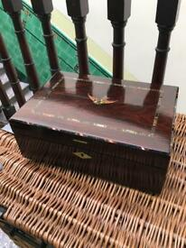 Antique Victorian rosewood writing slope with mother of pearl inlay and marketry