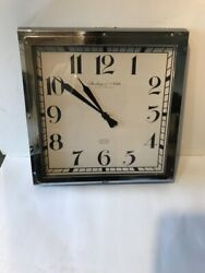 STERLING & NOBLE CLOCK COMPANY SQUARE  WALL CLOCK 16 3/4 X 3 1/2 ( RARE )