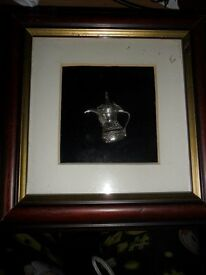 solid silver 925 eastern coffee / tea pot in glass picture frame