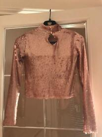 River Island Blush Sequin Turtleneck top