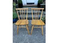 Vintage retro pair of Ercol stickback chairs